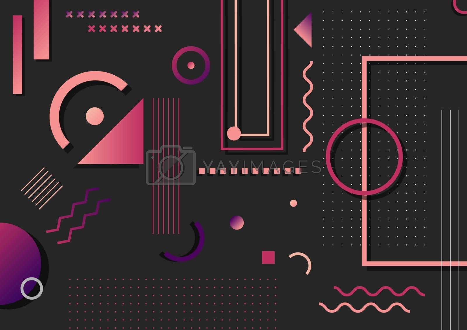 Abstract trendy pink and purple geometric shape elements pattern on black background. You can use for poster, artwork, template design, brochure. Vector illustration
