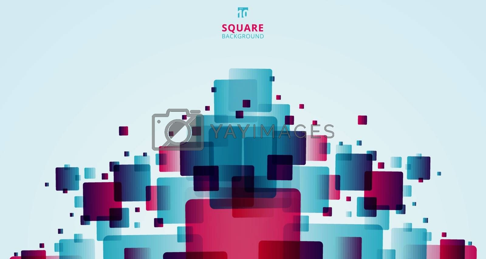 Abstract modern technology futuristic squares geometric blue and pink pattern overlay on white background with space for your text. Vector illustration