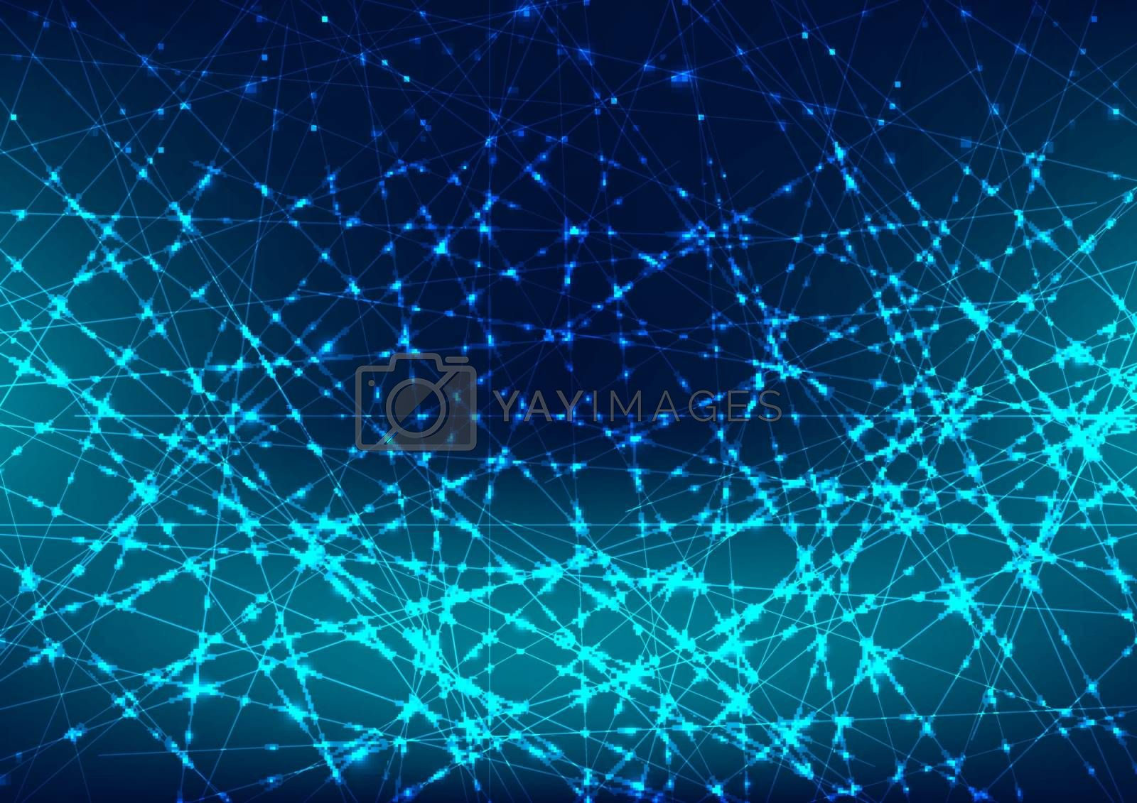 Abstract glowing blue laser line with sparkle lighting on dark blue space background. Digital technology futuristic concept. Vector illustration