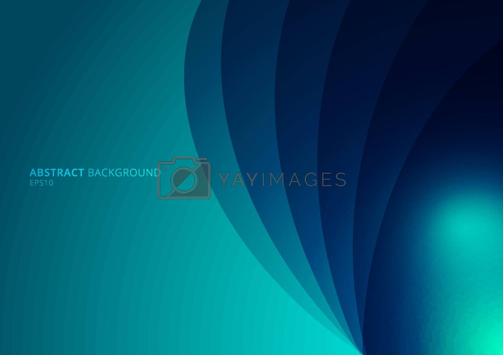 Abstract blue background curved layers with shadow and space for your text. Vector illustration