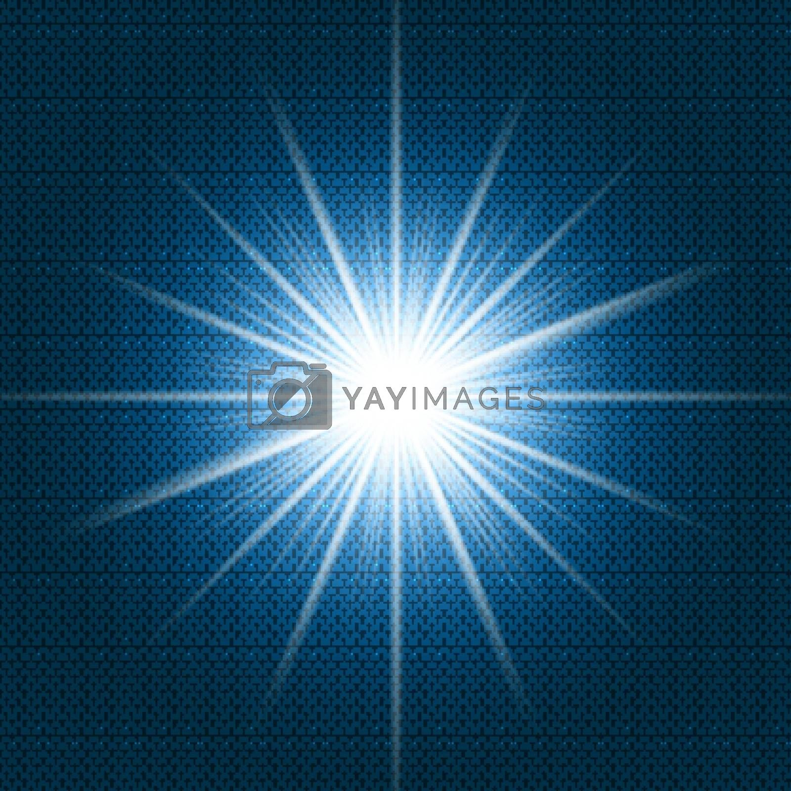 Starlight Shining flare with rays on dark blue gradient background and chevron pattern texture. Vector illustration