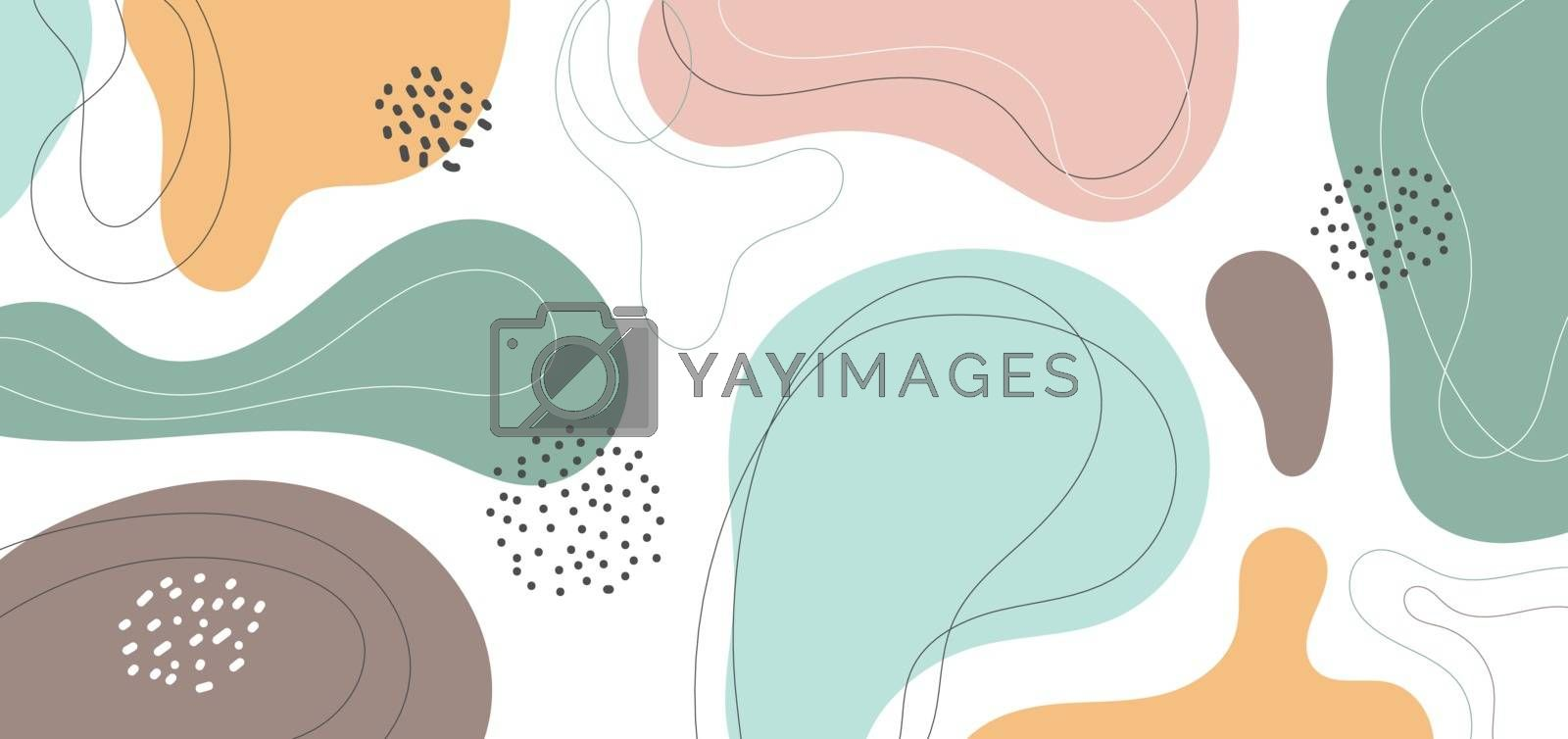 Banner web design template abstract minimal organic shapes composition pastel color background in trendy contemporary collage style. Vector illustration
