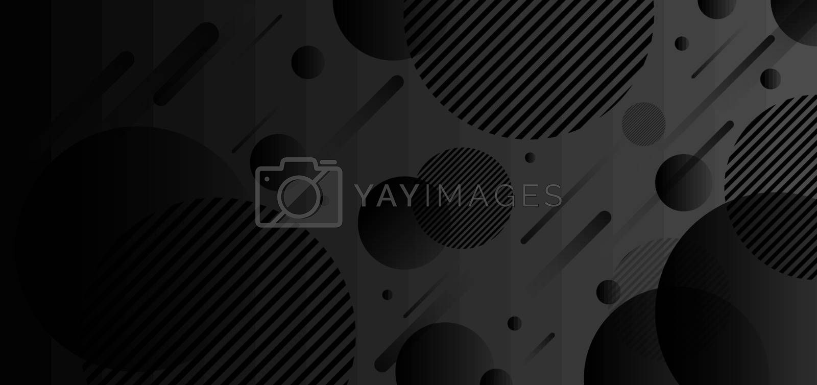 Abstract geometric dynamic circles black gradient shape background. Vector illustration