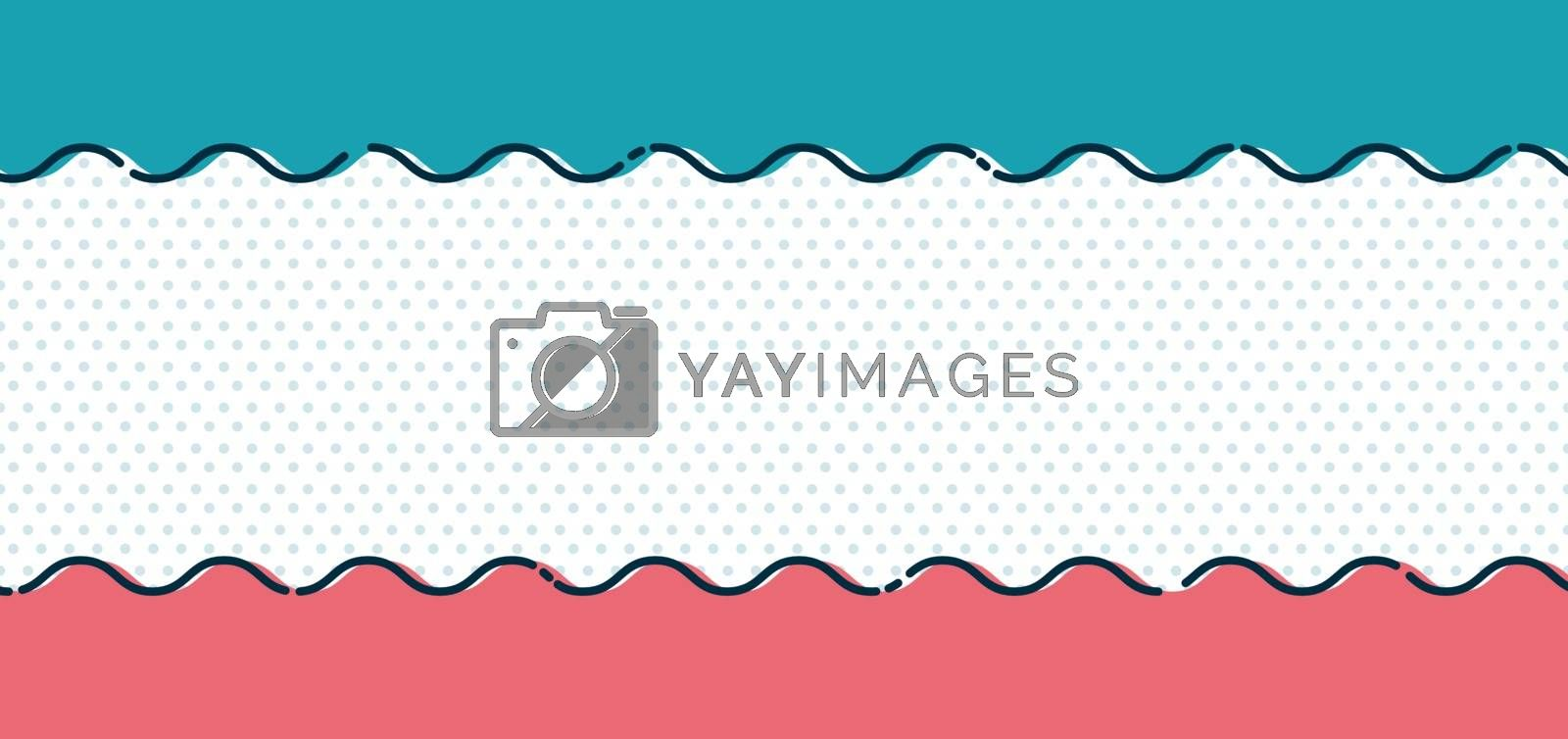 Abstract blue and pink wave line on polka dot background and texture minimal style. Vector illustration