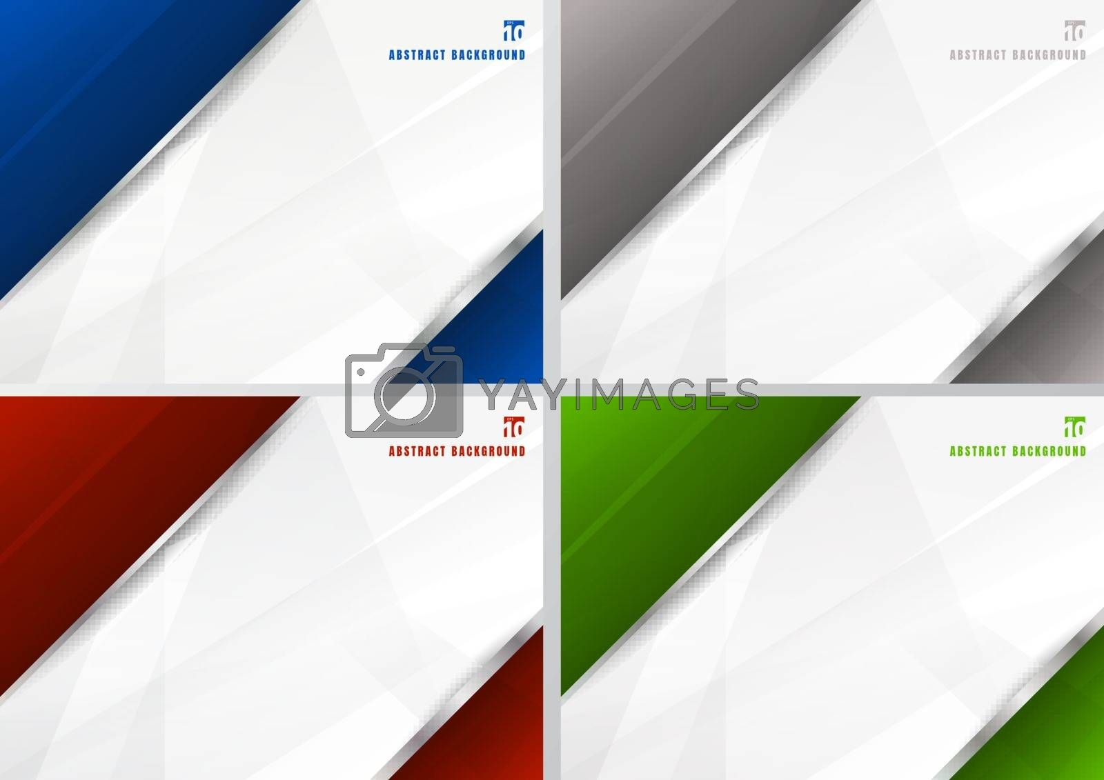 Set of abstract template blue, gray, red and green with white diagonal overlapping layers background with with silver line decoration. technology futuristic concept. You can use for brochure cover design, banner web, print ad, presentation, etc. Vector illustration