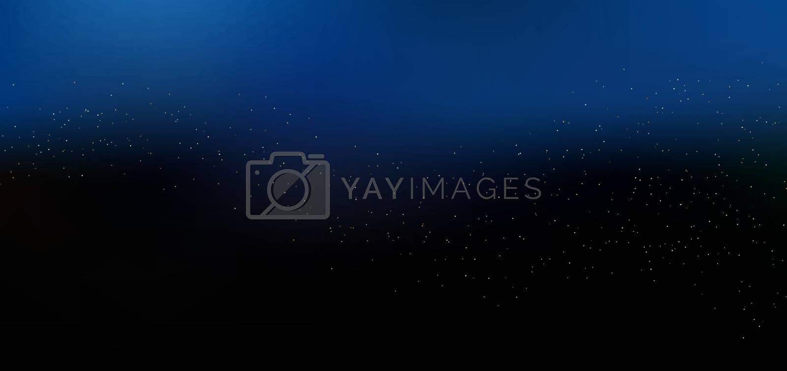 Magic night dark blue sky background with golden glitter sparkling. Vector illustration