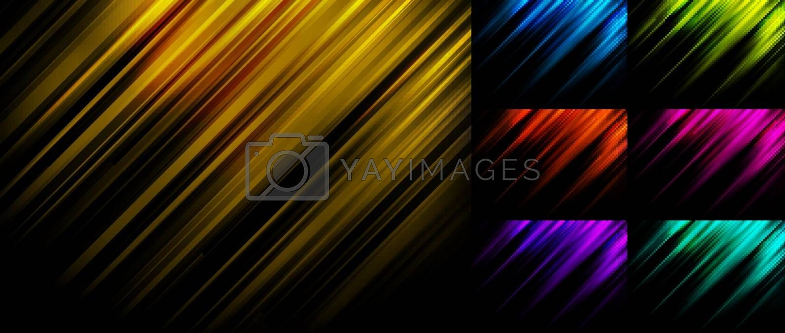 Set of abstract blue, yellow, green, red, pink, purple stripe diagonal lines light on black background with space for your text. Vector illustration