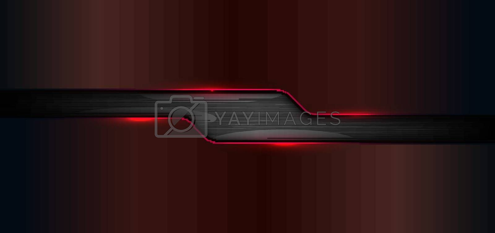 3D banner web template geometric red glow shiny metallic on black metal background and texture with space for your text. Technology concept. Vector illustration