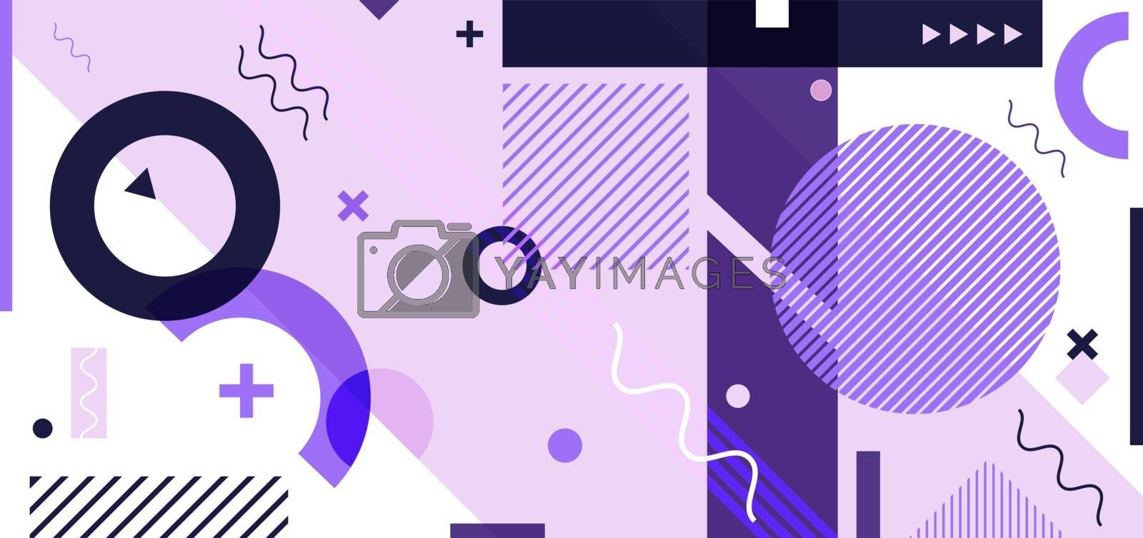 Abstract minimal geometric pattern purple memphis style white background. You can use for banner web design, presentation, poster, cover brochure, template, etc. Vector illustration