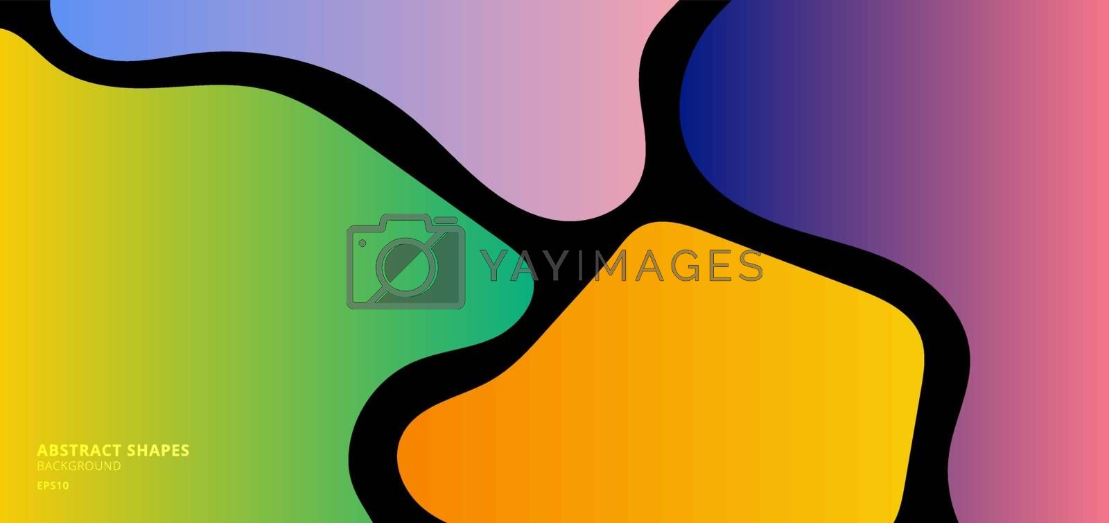 Abstract gradient curved shape on black background. Vector illustration