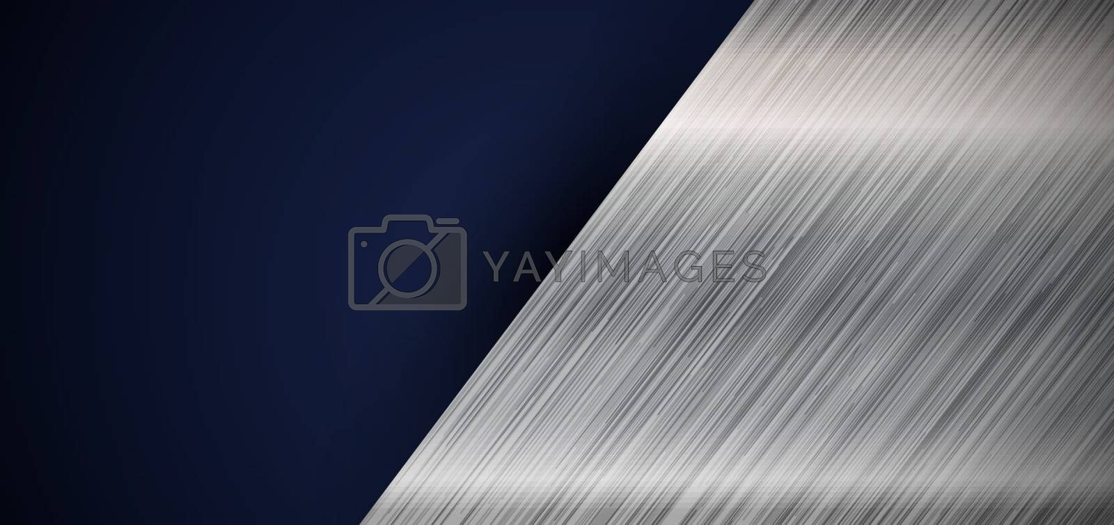 Abstract banner web elegant silver metallic diagonal on dark blue background with space for your text. Vector illustration