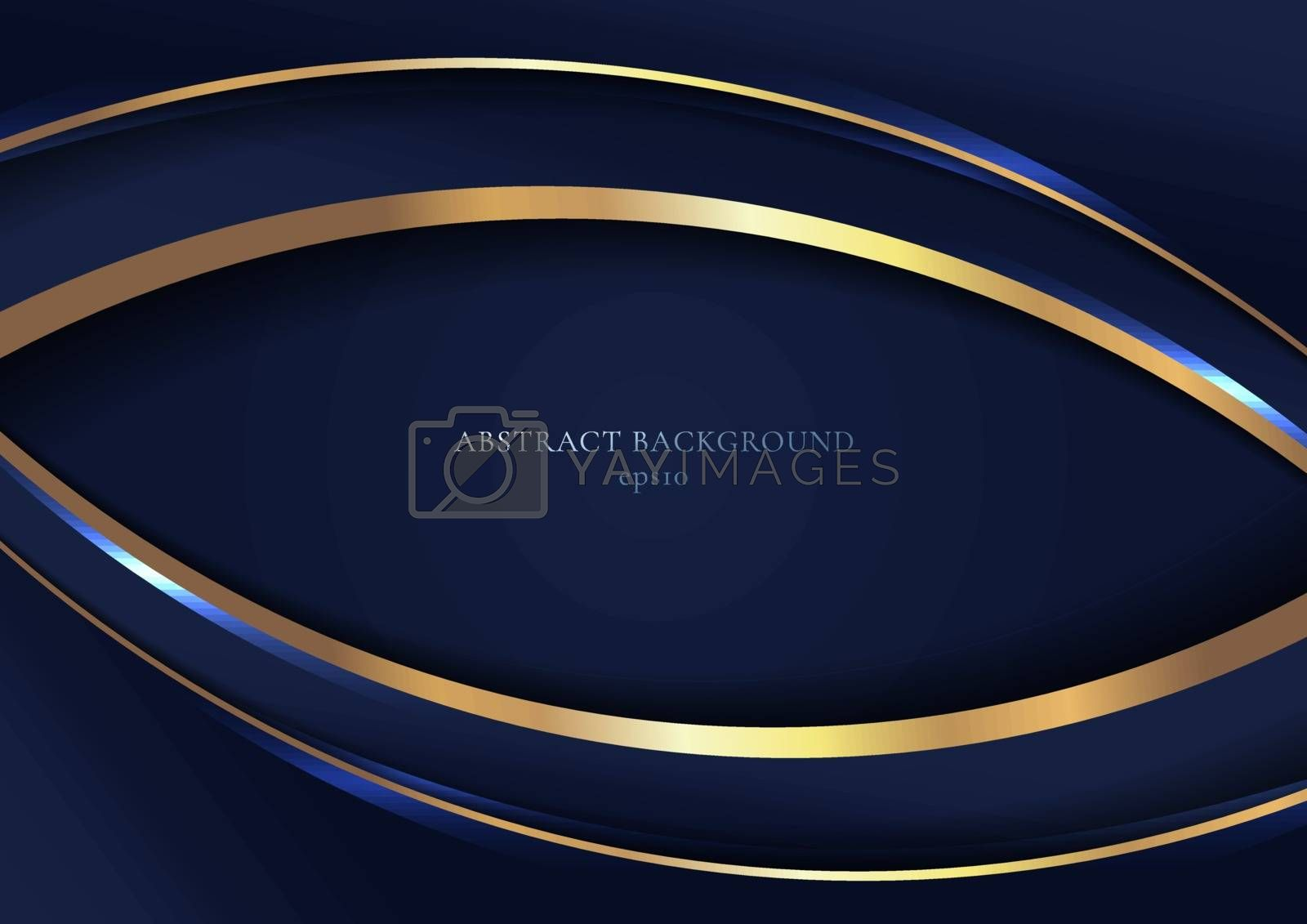 Abstract elegant blue curved geometric overlap layers with stripe golden line and lighting on dark blue background. Luxury style. Vector illustration