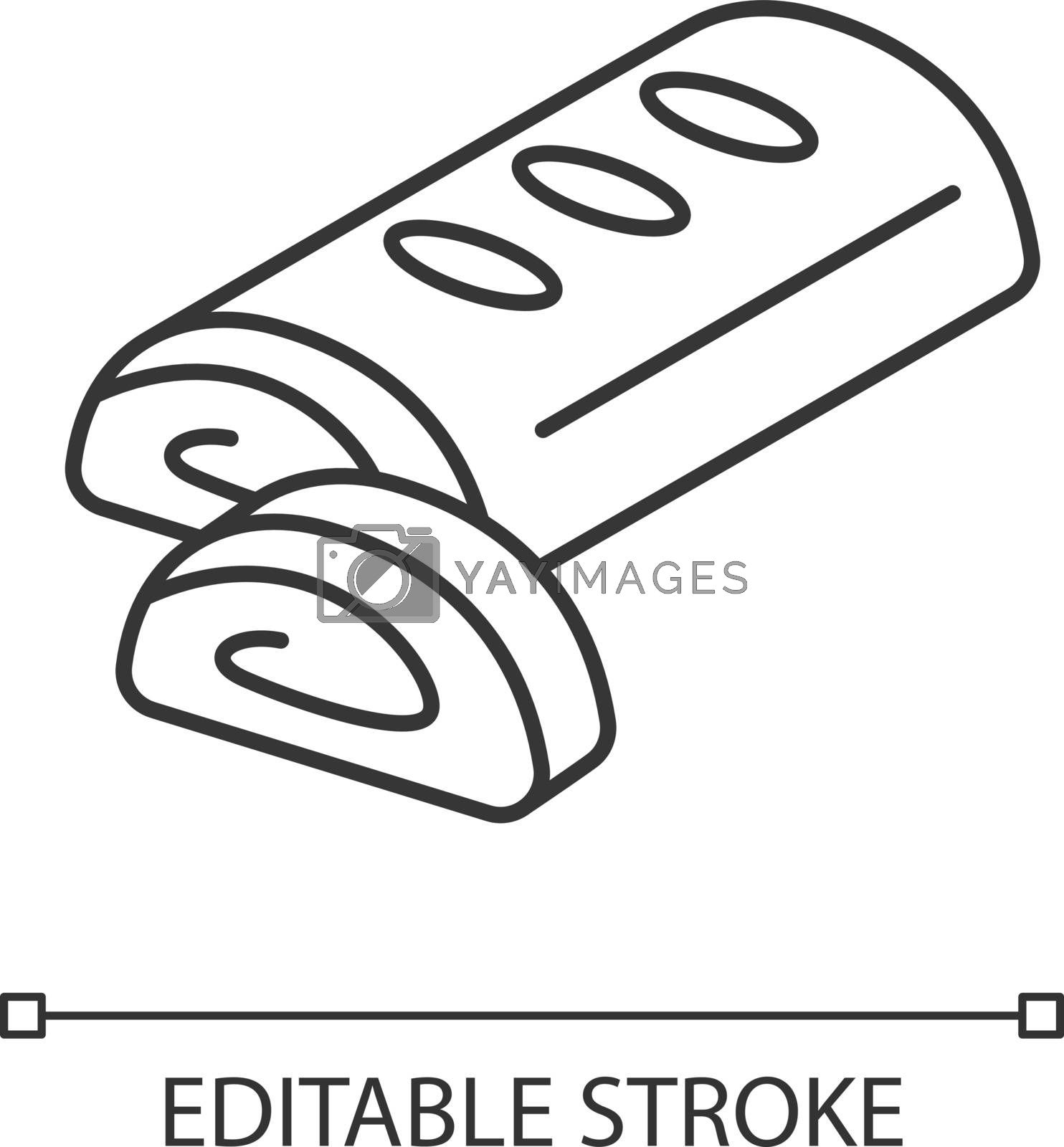 Strudel linear icon. Viennese apple strudel. Traditional Austrian pastry. European cuisine. Thin line customizable illustration. Contour symbol. Vector isolated outline drawing. Editable stroke
