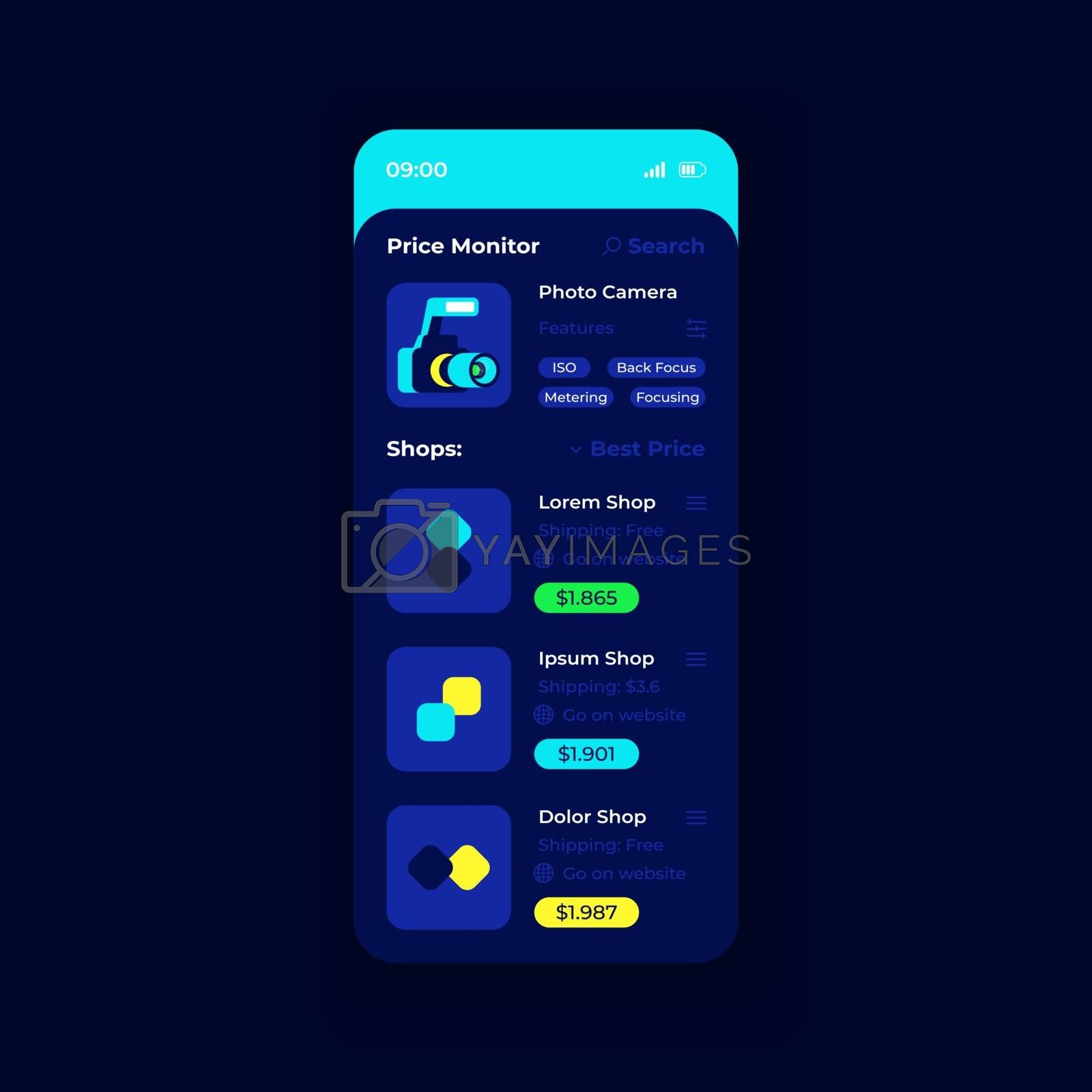 Price monitor app smartphone interface vector template. Mobile app page night mode design layout. Price comparison on screen. Online shopping flat UI for application. Cost tracking phone display