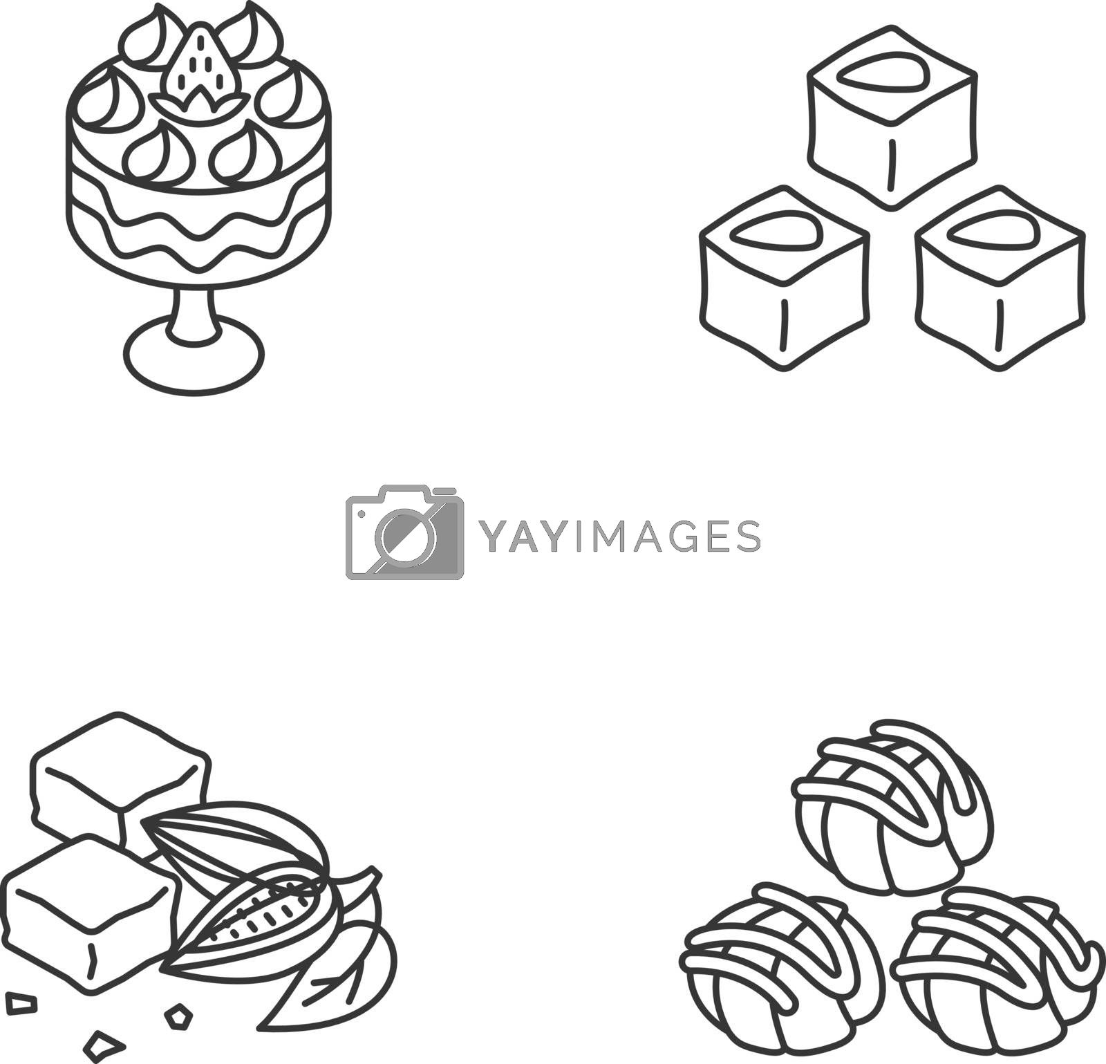 Traditional sweets linear icons set. Profiteroles. Classic brownies. Turkish delight. Trifle with strawberries. Customizable thin line contour symbols. Isolated vector outline illustrations