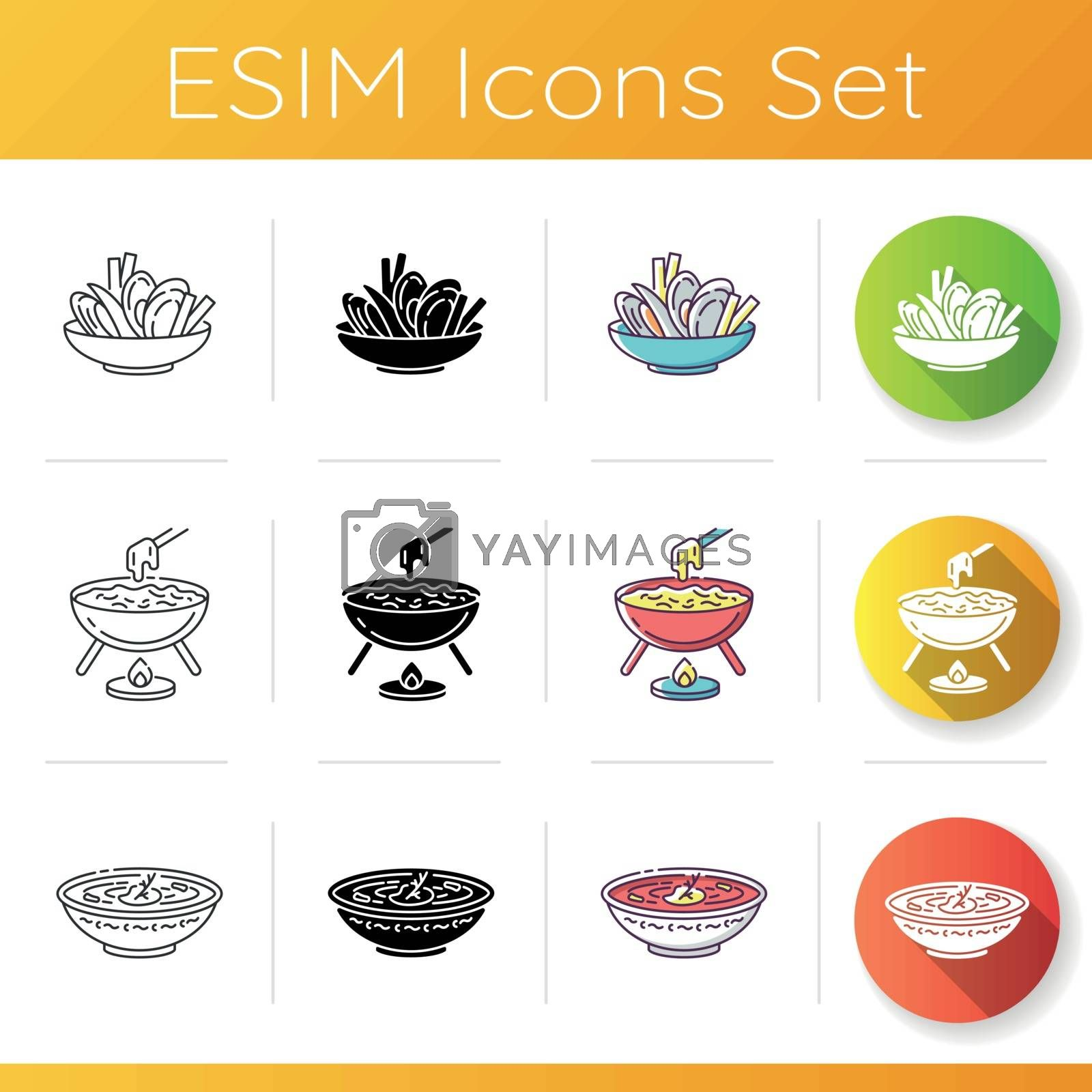 Traditional dish icons set. Mussels with fries. French cheese fondu. Ukrainian borscht. European cuisine. Restaurant meal. Linear, black and RGB color styles. Isolated vector illustrations