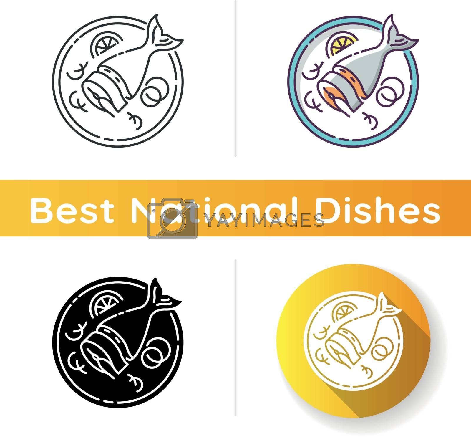 Soused herring icon. Sliced raw fish. Japanese dish. Salmon piece on crockery. Asian fresh meal for nutrition. Cook lunch. Linear black and RGB color styles. Isolated vector illustrations