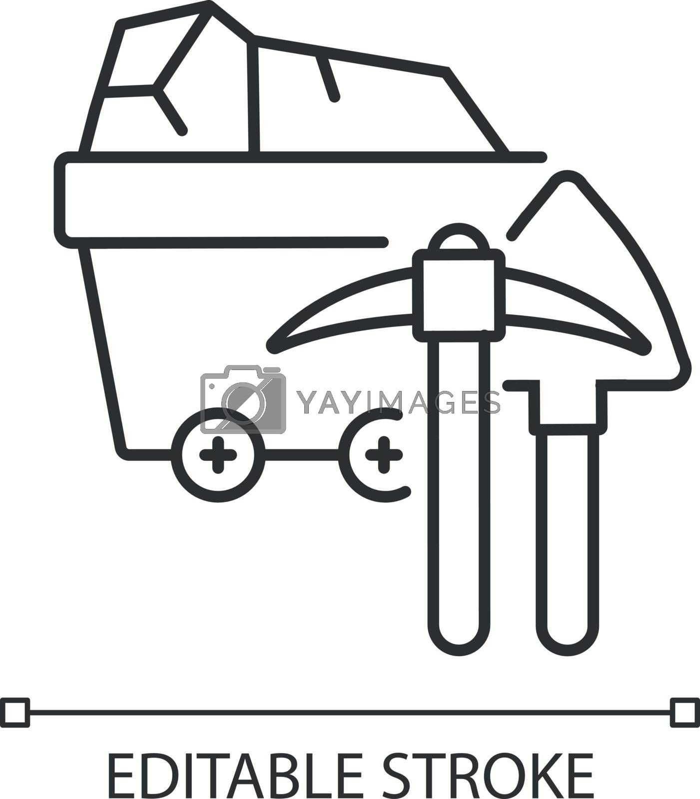 Coal industry linear icon. Natural resources exploitation, fossil fuel mining thin line customizable illustration. Contour symbol. Colliery equipment. Vector isolated outline drawing. Editable stroke