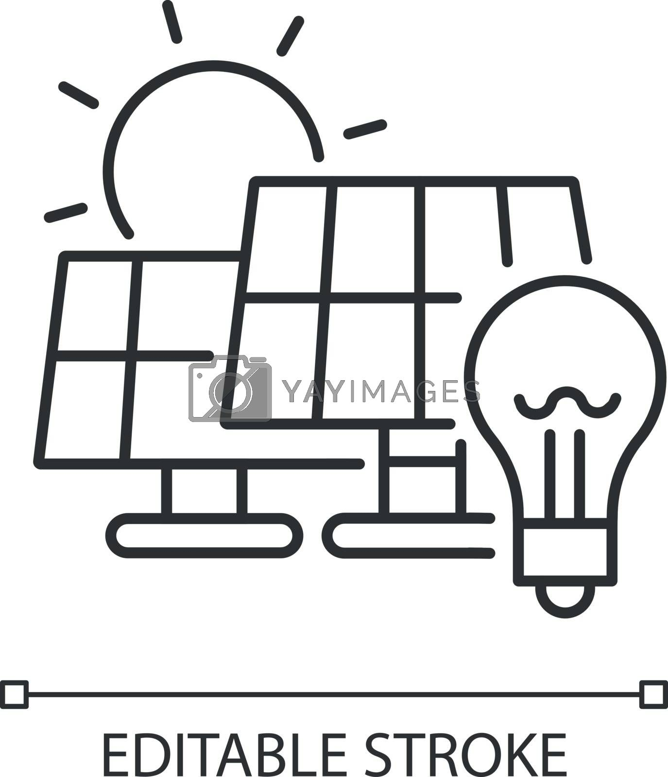 Solar power station linear icon. Renewable energy, alternative electricity manufacturing thin line customizable illustration. Contour symbol. Vector isolated outline drawing. Editable stroke