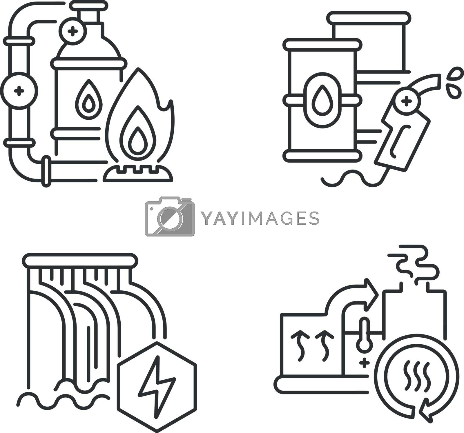 Power manufacturing linear icons set. Gas extraction, petroleum refinery, dam and heat recovery customizable thin line contour symbols. Isolated vector outline illustrations. Editable stroke
