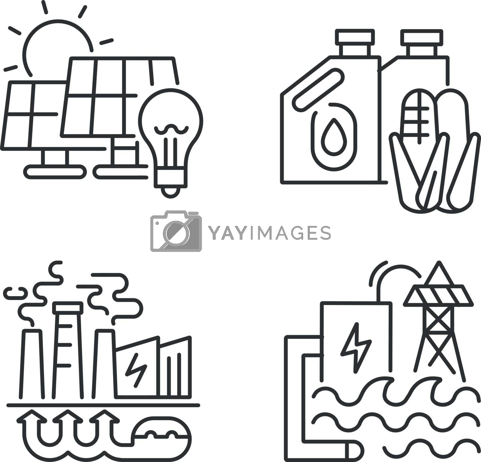 Alternative energy linear icons set. Solar, geothermal and hydroelectric stations customizable thin line contour symbols. Renewable energy. Isolated vector outline illustrations. Editable stroke