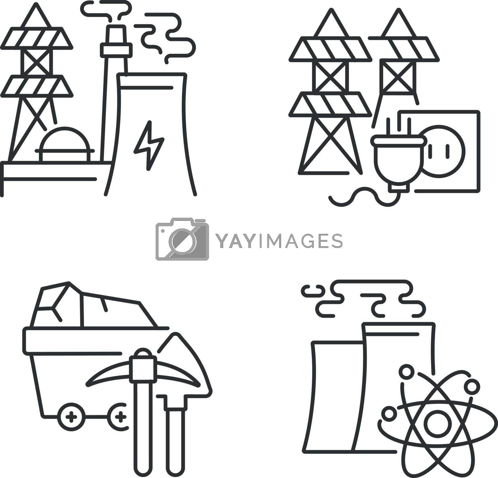 Energy manufacturing linear icons set. Electric power station, nuclear reactor and coal mining plant customizable thin line contour symbols. Isolated vector outline illustrations. Editable stroke