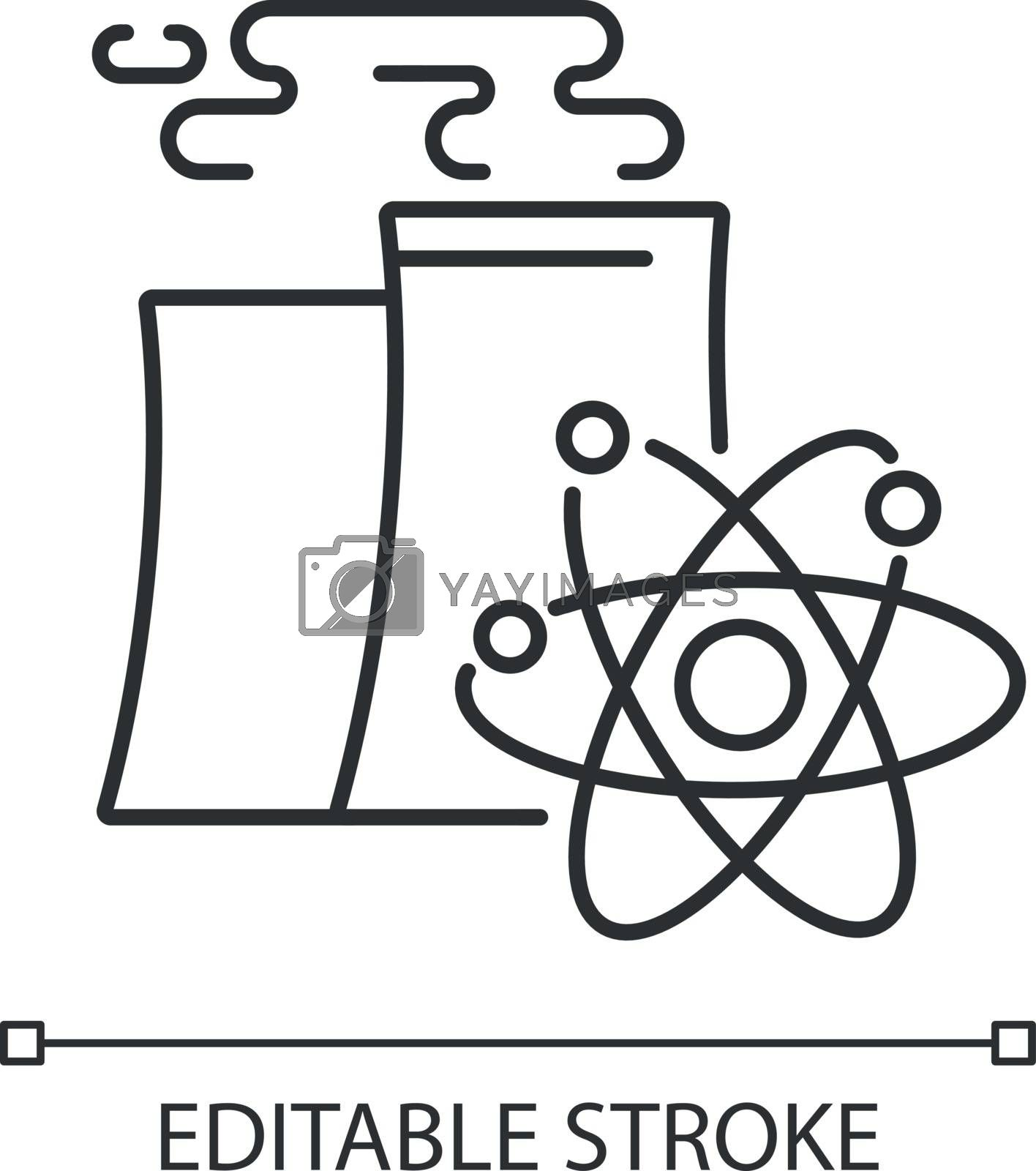Nuclear industry linear icon. Atomic energy manufacturing technology thin line customizable illustration. Contour symbol. Modern power plant vector isolated outline drawing. Editable stroke