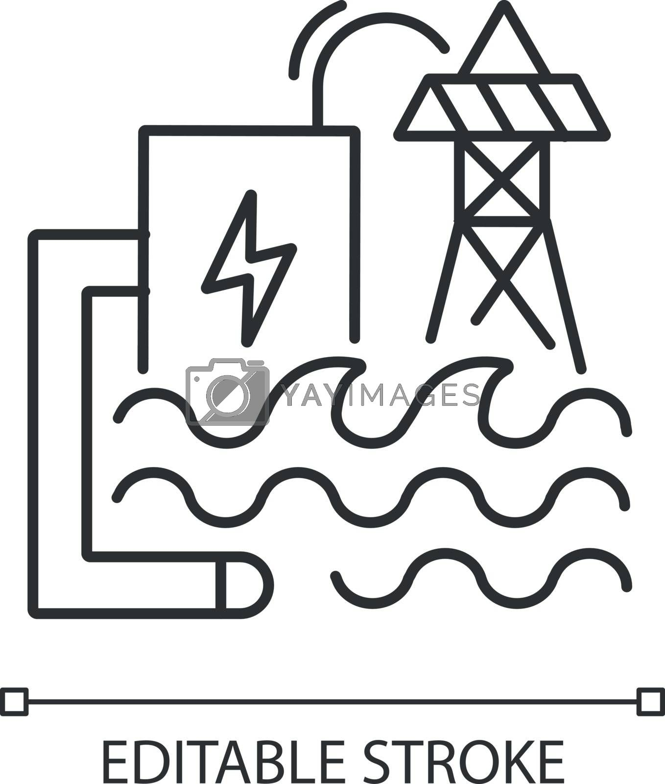 Wave energy linear icon. Eco safe power plant thin line customizable illustration. Contour symbol. Electricity generation. Hydroelectric station vector isolated outline drawing. Editable stroke