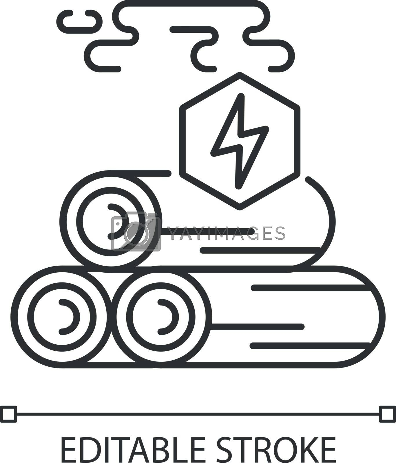 Wood energy linear icon. Power manufacturing business. Natural resources exploitation thin line customizable illustration. Contour symbol. Vector isolated outline drawing. Editable stroke
