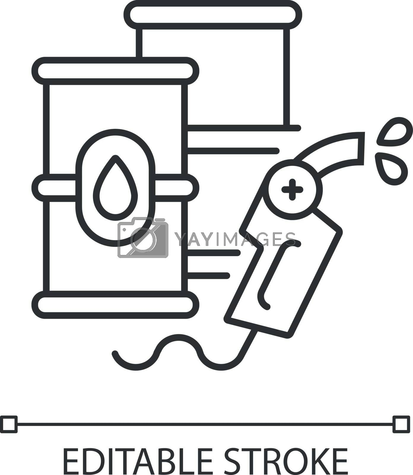 Petroleum linear icon. Petrochemical industry, energy market thin line customizable illustration. Contour symbol. Barrels with crude materials vector isolated outline drawing. Editable stroke