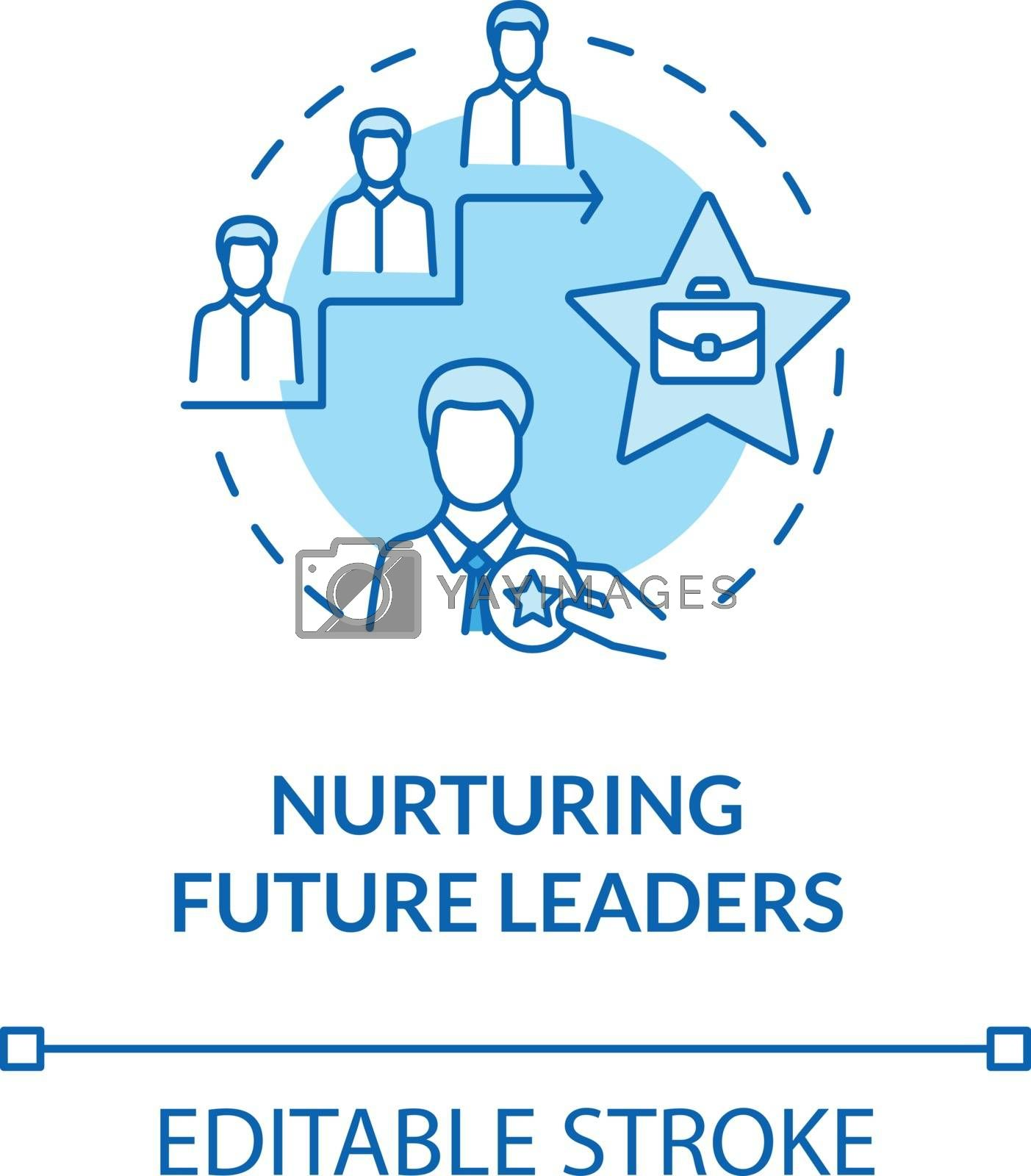 Nurturing future leaders turquoise concept icon. Education for career growth. Training for corporate executive idea thin line illustration. Vector isolated outline RGB color drawing. Editable stroke