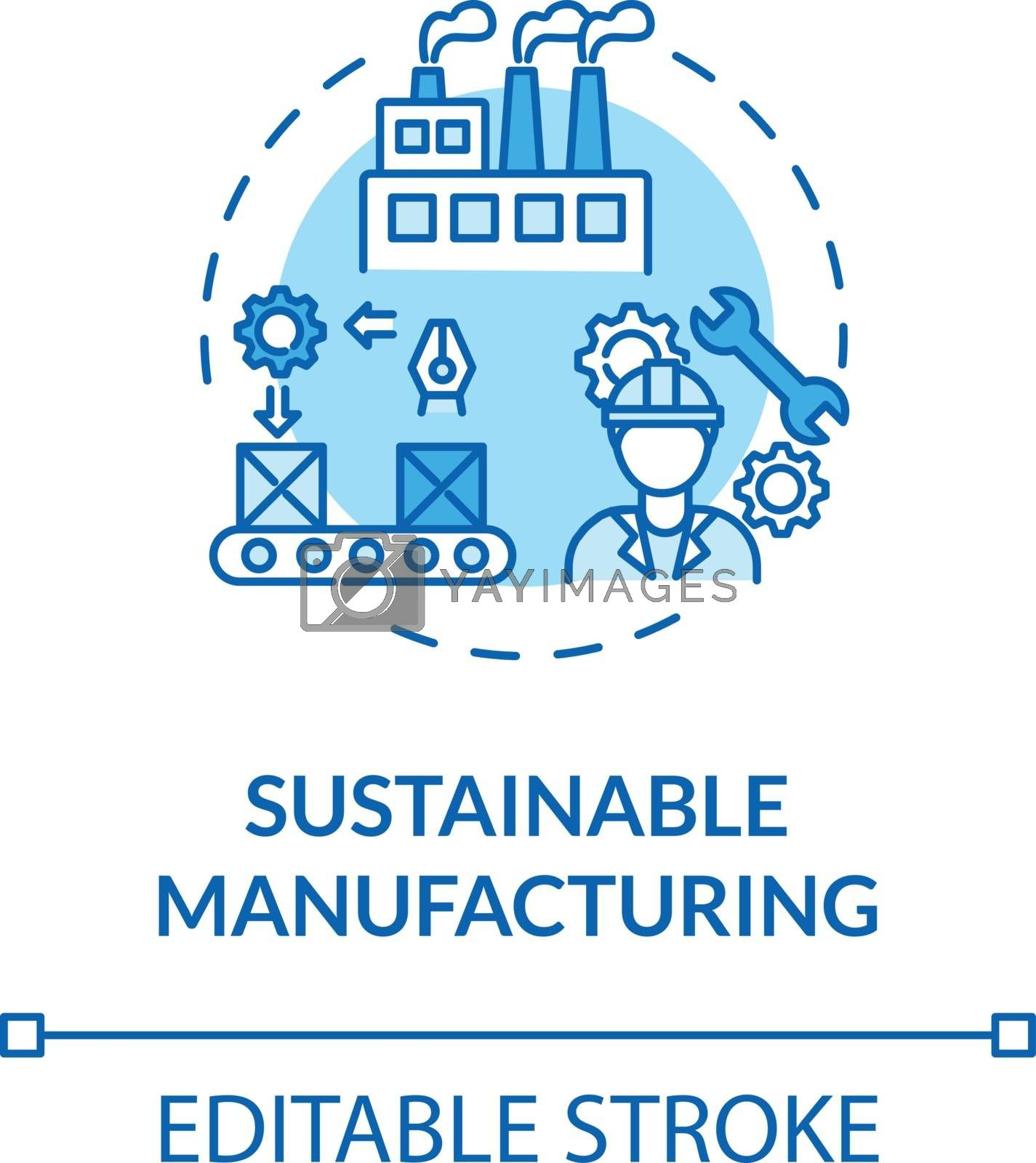 Sustainable manufacturing turquoise concept icon. Ecoological factory production. Responsible development idea thin line illustration. Vector isolated outline RGB color drawing. Editable stroke