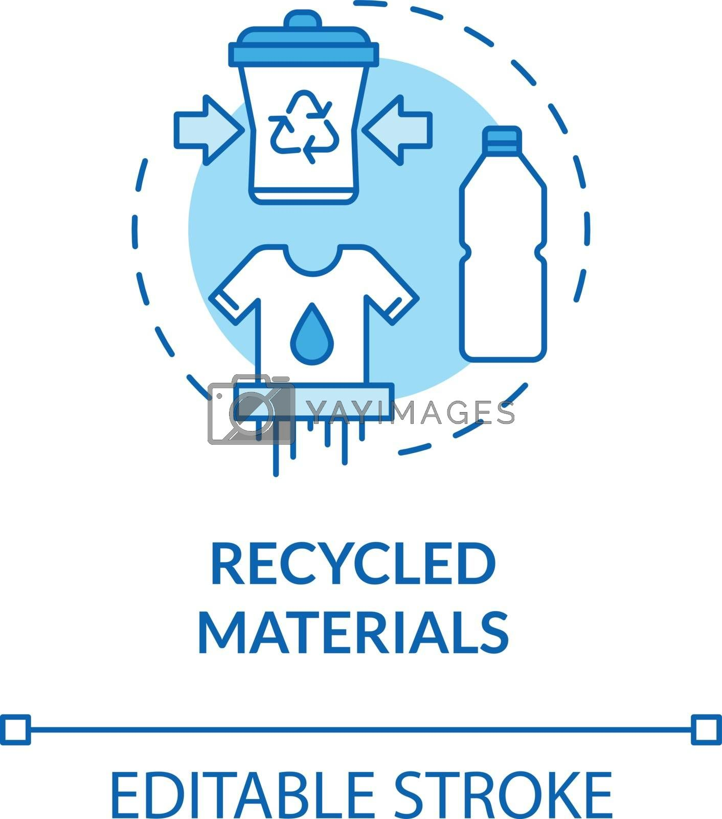 Recycled materials turquoise concept icon. Produce supply from plastic. Ecological production idea thin line illustration. Vector isolated outline RGB color drawing. Editable stroke