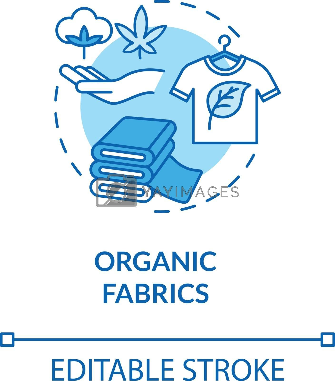 Organic fabrics turquoise concept icon. Eco friendly garment manufacturer. Sustainable material production idea thin line illustration. Vector isolated outline RGB color drawing. Editable stroke