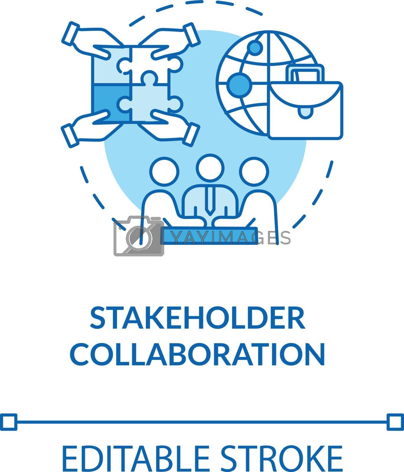 Stakeholder collaboration turquoise concept icon. Teamwork for project and partnership. Corporate cooperation idea thin line illustration. Vector isolated outline RGB color drawing. Editable stroke