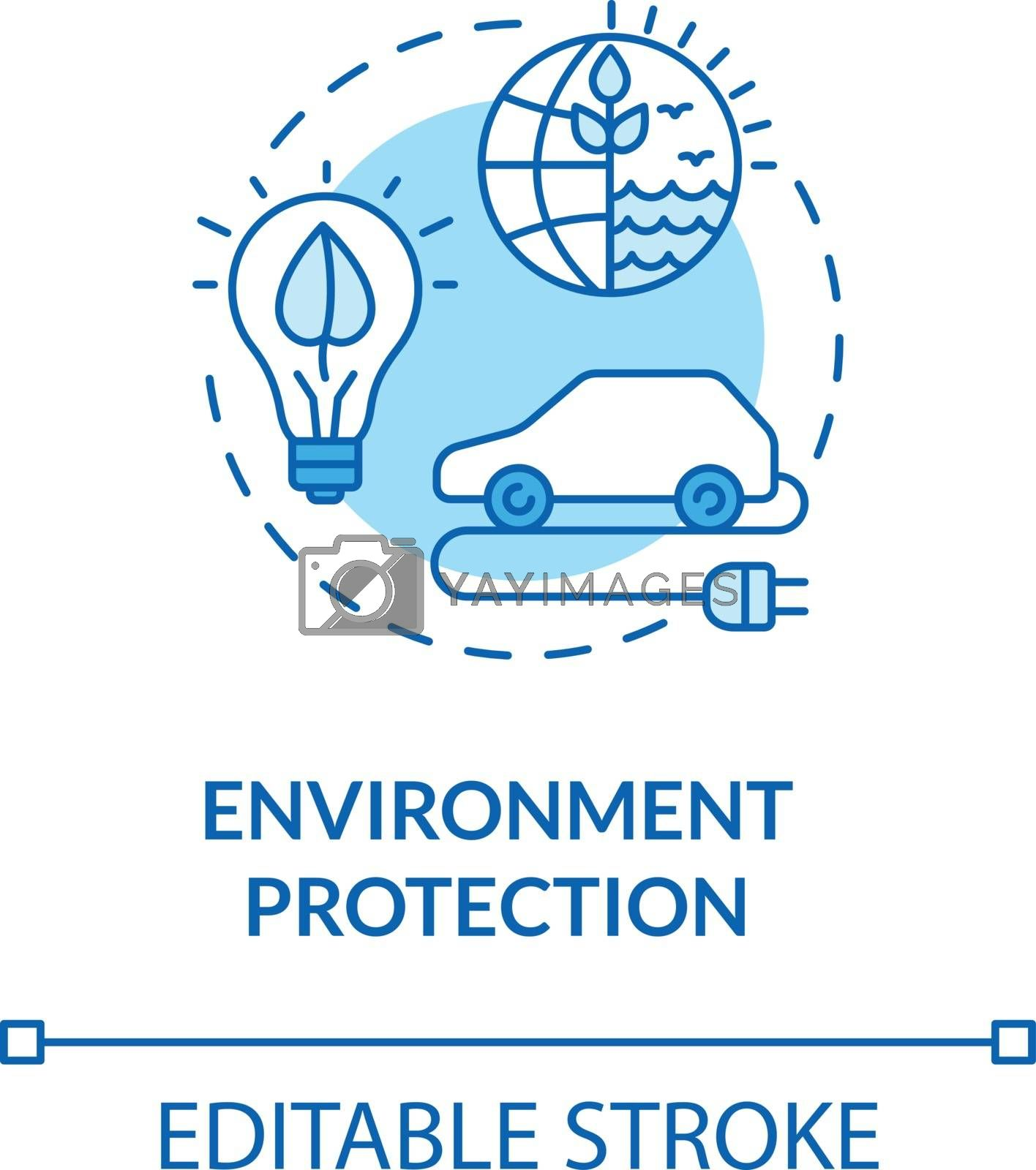 Environment protection turquoise concept icon. Eco friendly technology. Alternative energy supply idea thin line illustration. Vector isolated outline RGB color drawing. Editable stroke