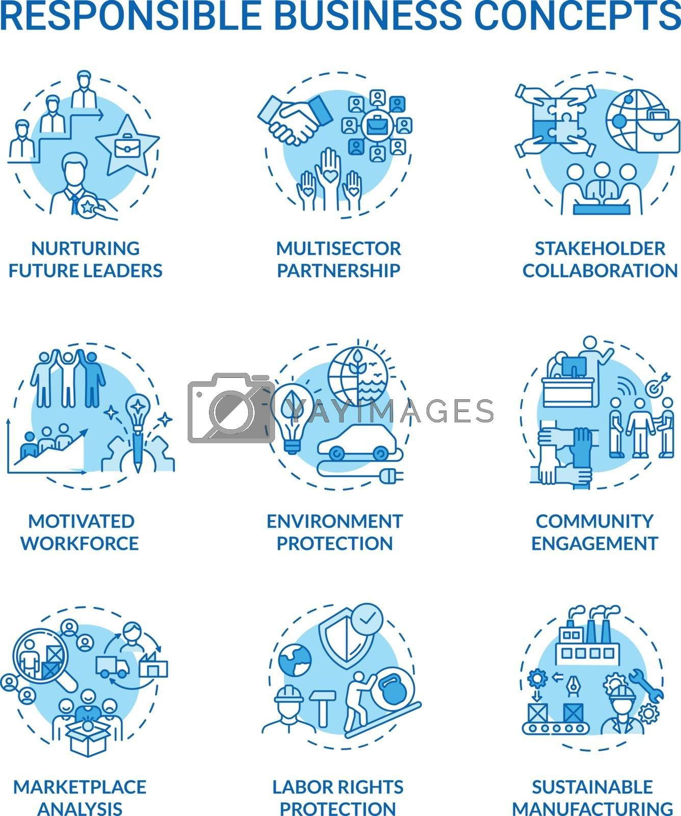 Responsible business turquoise concept icons set. Nurture future leader. Sustainable development idea thin line RGB color illustrations. Vector isolated outline drawings. Editable stroke