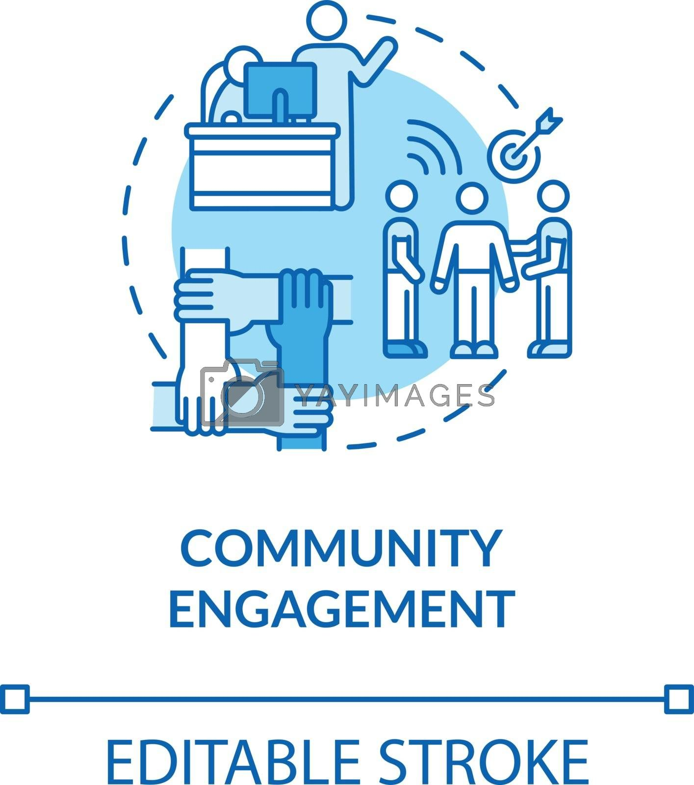 Community engagement turquoise concept icon. Teamwork for project. Union support. Partnership for work idea thin line illustration. Vector isolated outline RGB color drawing. Editable stroke