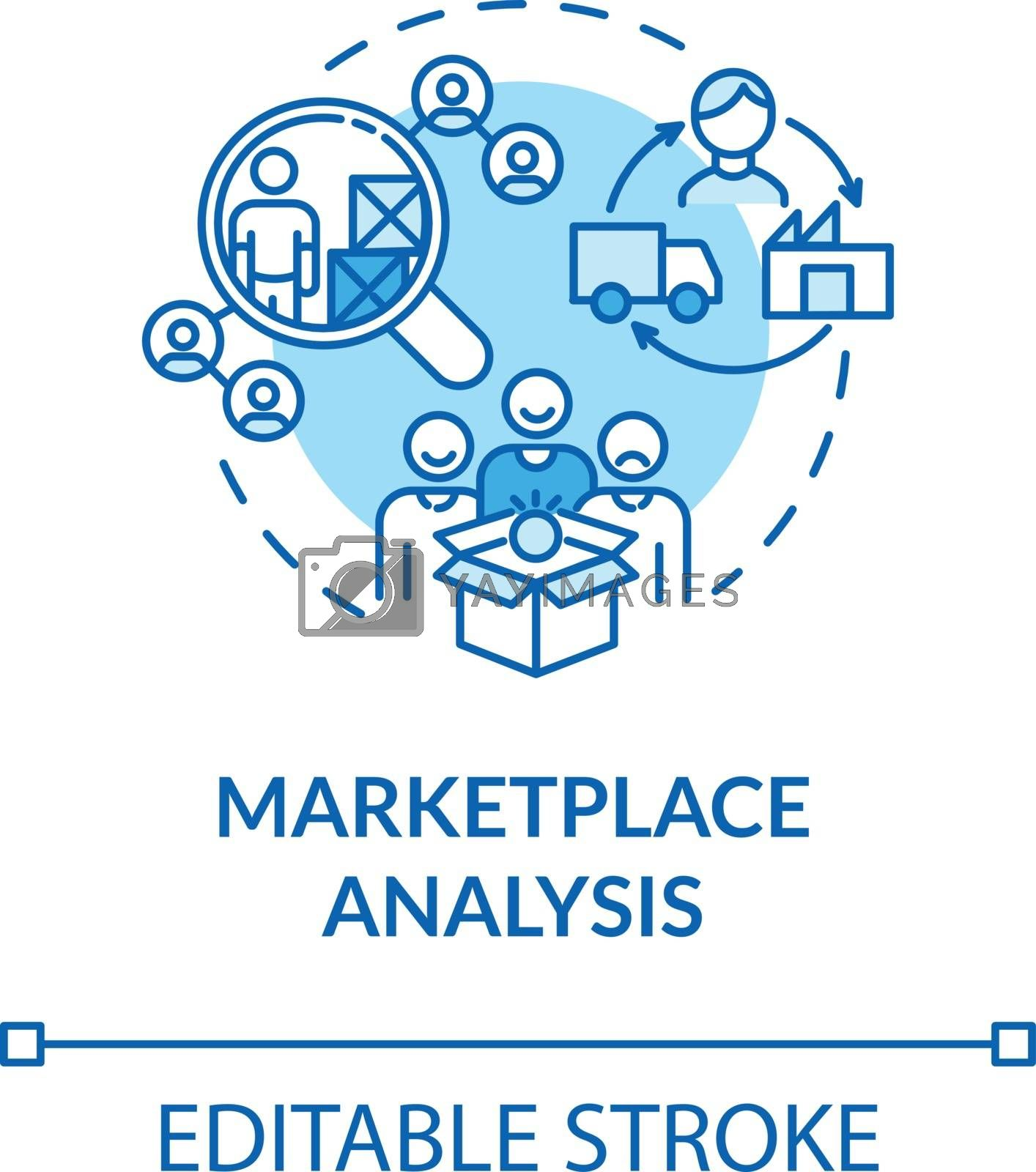 Marketplace analysis turquoise concept icon. Financial report. Commercial research. Information assessment idea thin line illustration. Vector isolated outline RGB color drawing. Editable stroke