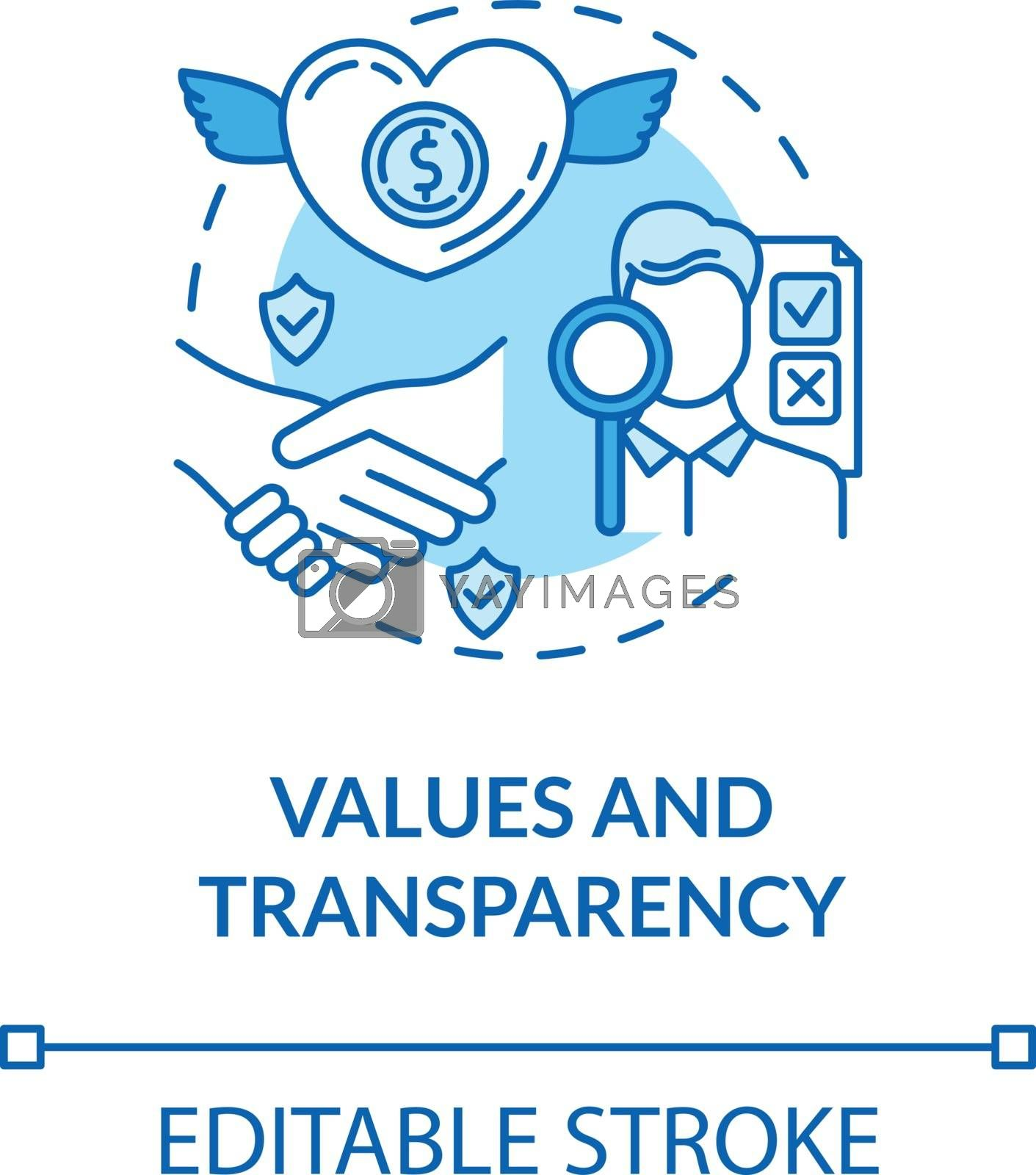 Values and transparency turquoise concept icon. Company reliability. Company culture. Core corporate ethics idea thin line illustration. Vector isolated outline RGB color drawing. Editable stroke