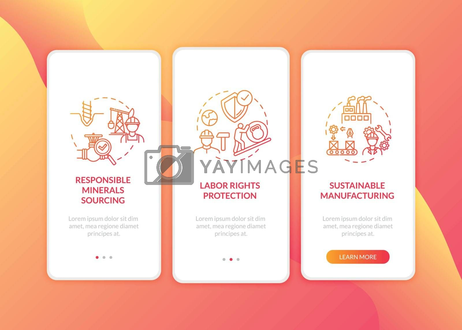 Safe labour on factory onboarding mobile app page screen with concepts. Ethical manufacture walkthrough 5 steps graphic instructions. UI vector template with RGB color illustrations
