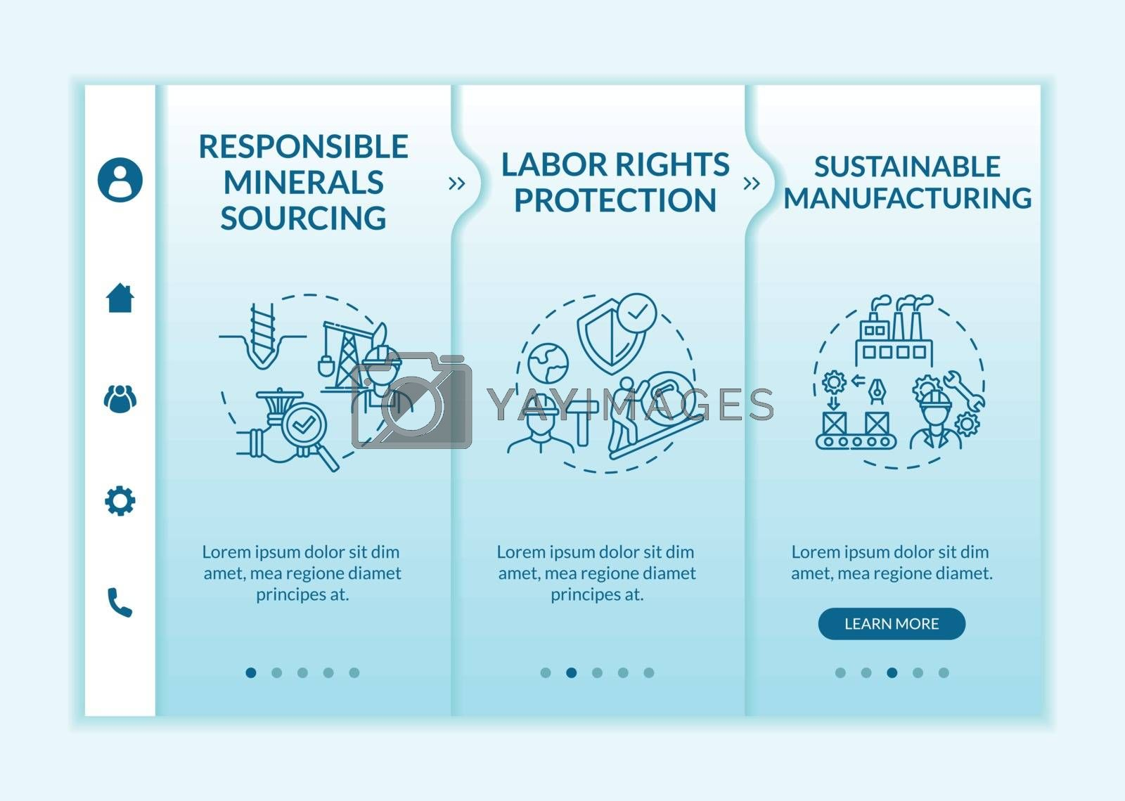 Responsible production onboarding vector template. Labor right protection. Sustainable manufacture. Responsive mobile website with icons. Webpage walkthrough step screens. RGB color concept