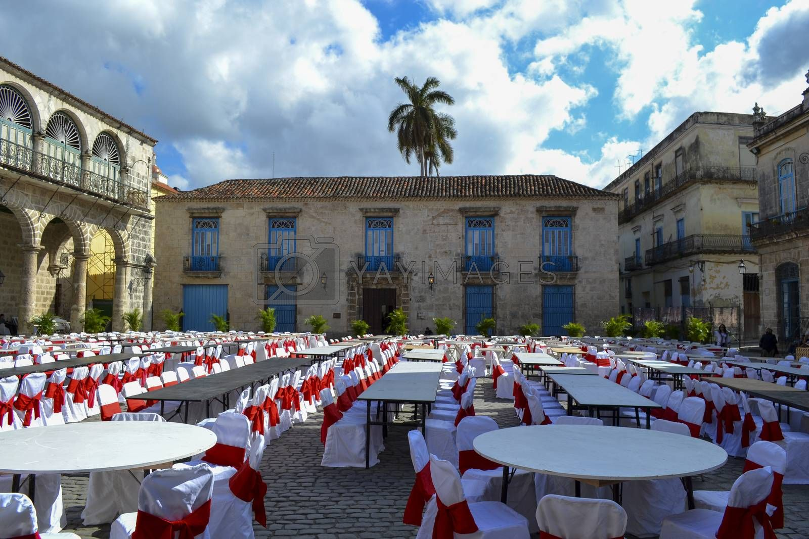 Havana, Cuba, February 2011: city square prepared for festivities, empty chairs and tables; ready to receive people