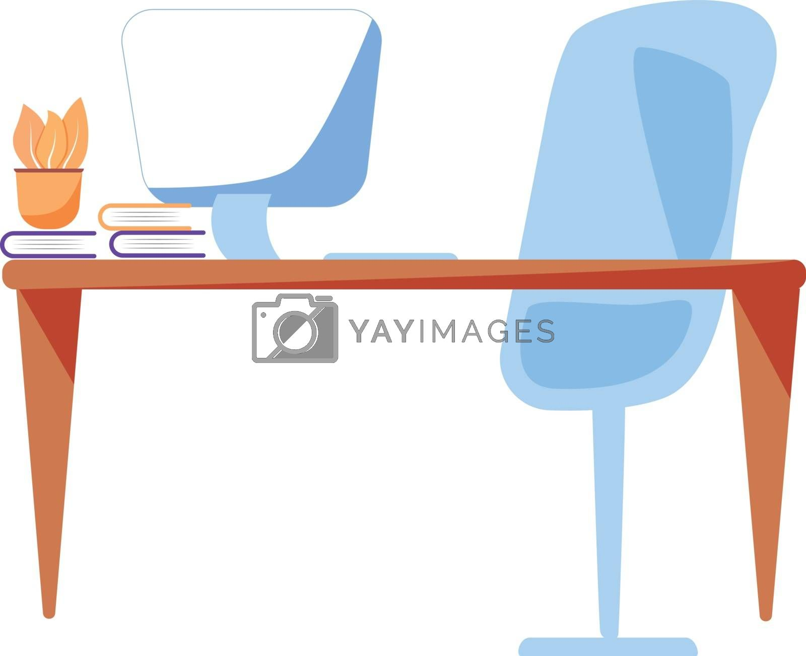 Office workspace flat color vector object. Manager desktop with computer monitor and book pile. Corporate workplace isolated cartoon illustration for web graphic design and animation