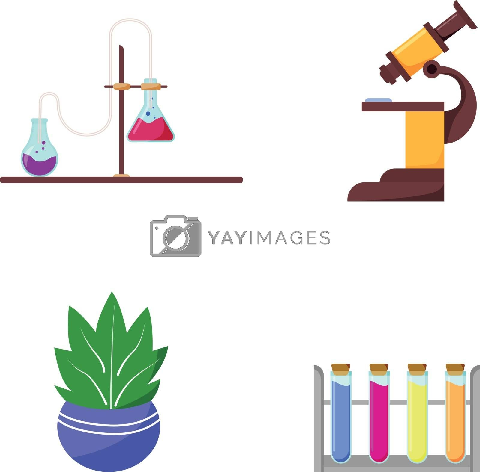 Laboratory equipment flat color vector object set. Flask with pipeline. Microscope for study. Chemistry tools isolated cartoon illustration for web graphic design and animation collection