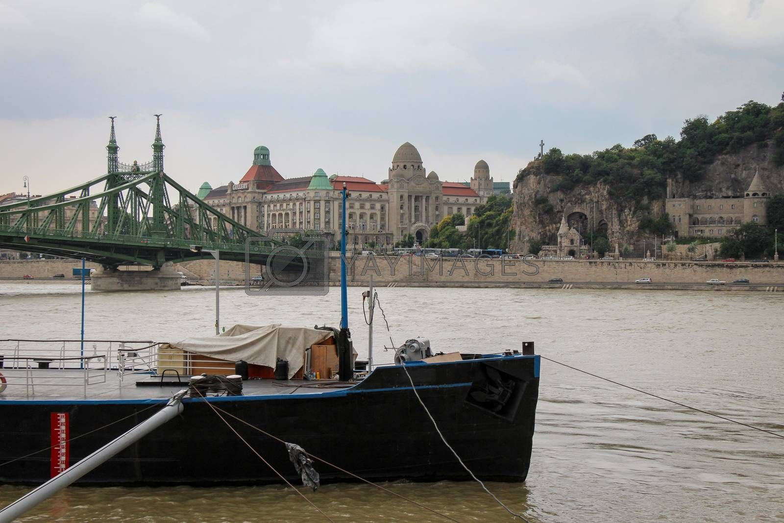 A view across the Danube to Liberty Bridge, Gellert Spa and Cave in Budapest