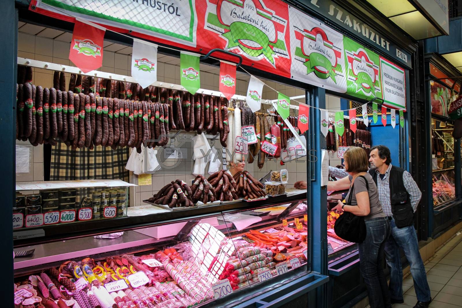 Budapest, Hungary - June 28th 2013: A delicatessen selling meat products in the Central Market in Budapest, Hungary