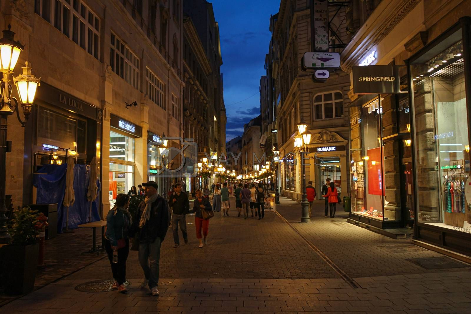 Budapest, Hungary - June 28th 2013: Vaci Street on a summers evening at twilight, Budapest, Hungary