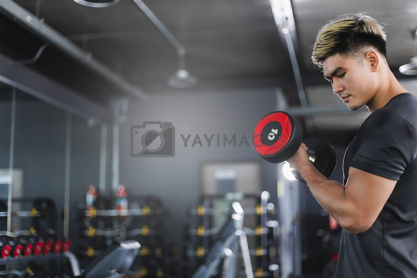 Asian man Bodybuilder with dumbbell weights power handsome athletic exercises.Metaphor Fitness and workout concept exercise Health lifestyle muscle body with take care of your health