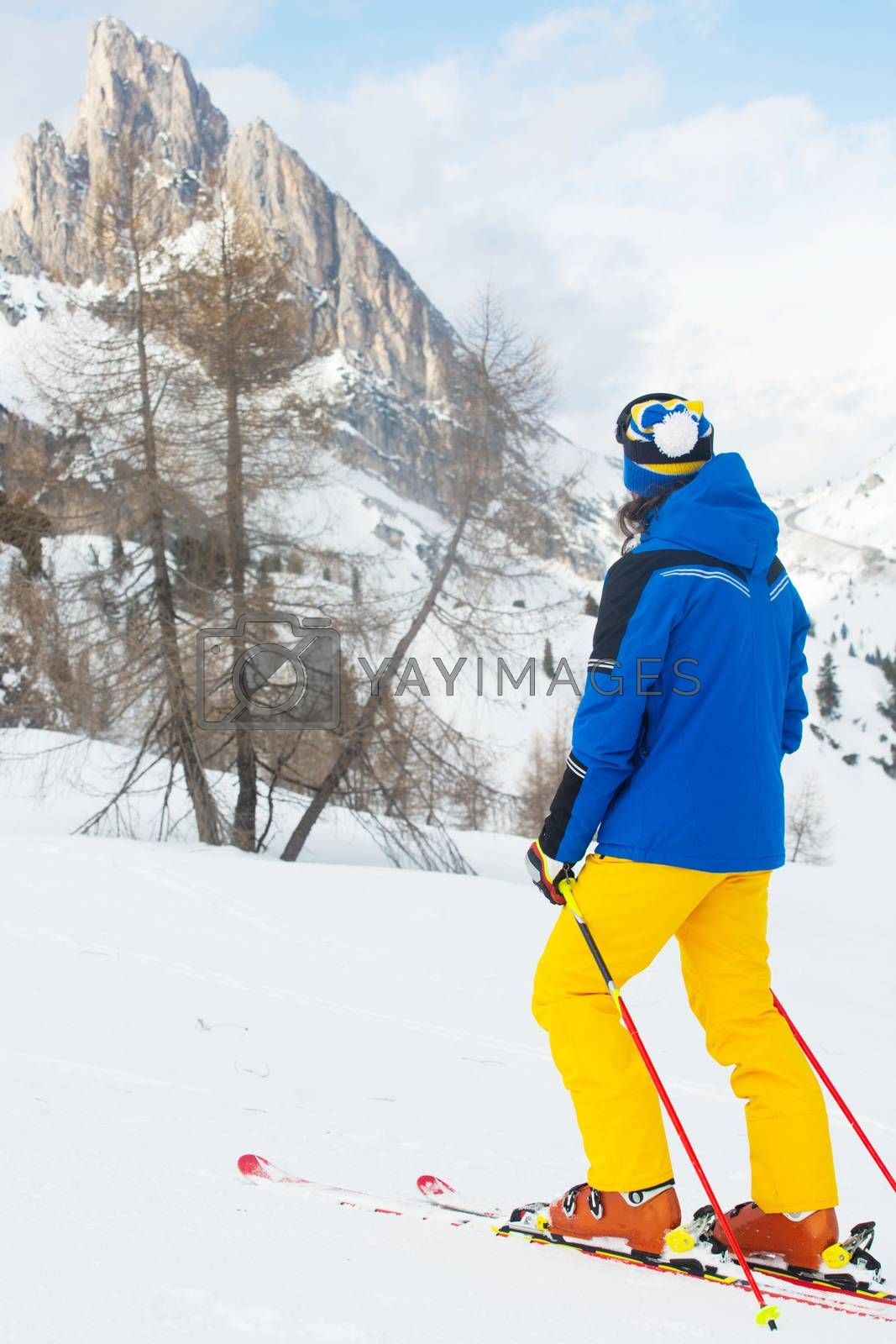 Skier with looking at mountain landscape Col Gallina Cortina d'Ampezzo Dolomites